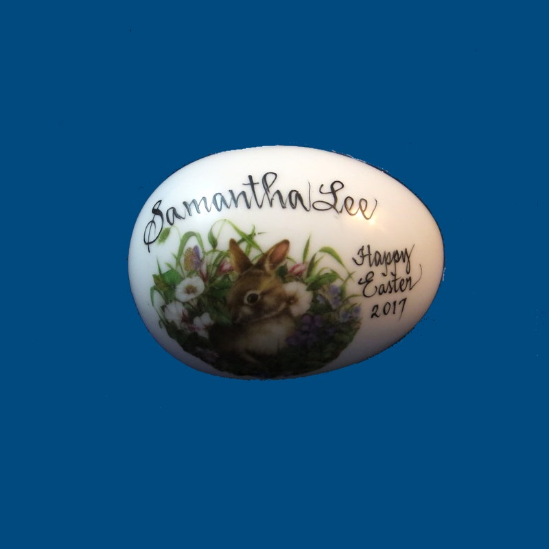 Personalized Hand Painted Porcelain Easter Egg- Bunny with Flower Garden-gift idea, personalized gifts, holiday gifts, easter egg, easter eggs, decorated easter egg, decorated easter eggs, easter basket, easter gift baskets, porcelain eggs, porcelain keepsake, porcelain painted, easter for kids, holiday gifts, personalized gifts, baby gifts, kids gifts, unique gifts