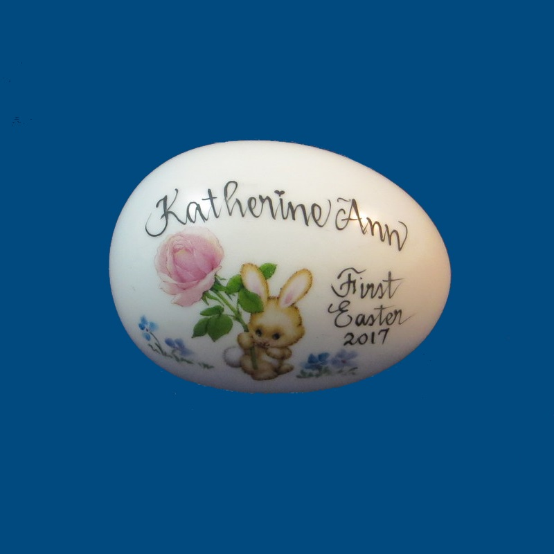 Personalized Hand Painted  Easter Egg with Bunny with Rose*-gift baskets, porcelain eggs, porcelain keepsake, porcelain painted, easter for kids, holiday gifts, personalized gifts, baby gifts, kids gifts, unique gifts, Easter, Easter Eggs, Solid Easter Eggs, Eggs with Names, Just for Easter, New Baby, New Baby Easter, First Easter, Personalized Easter Eggs, Porcelain Easter Eggs, Porcelain Easter,