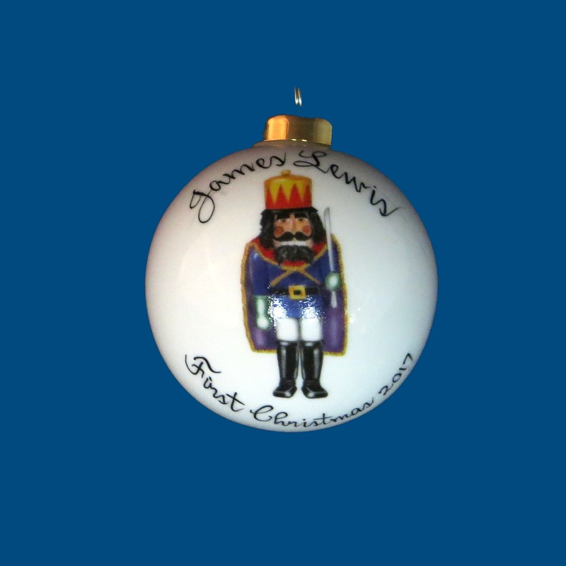 *NEW DESIGN Personalized Hand Painted Porcelain Christmas Ball with King Nutcracker  Design-gift idea, personalized gifts, christmas, christmas gifts, christmas gift ideas, xmas ornaments, christmas ornaments, gifts for christmas, present ideas, ornament, christmas tree ornaments, personalized christmas ornaments, homemade christmas ornaments, first christmas ornaments, christmas ball ornament, engraved christmas ornament, christmas balls, christmas ball decorations