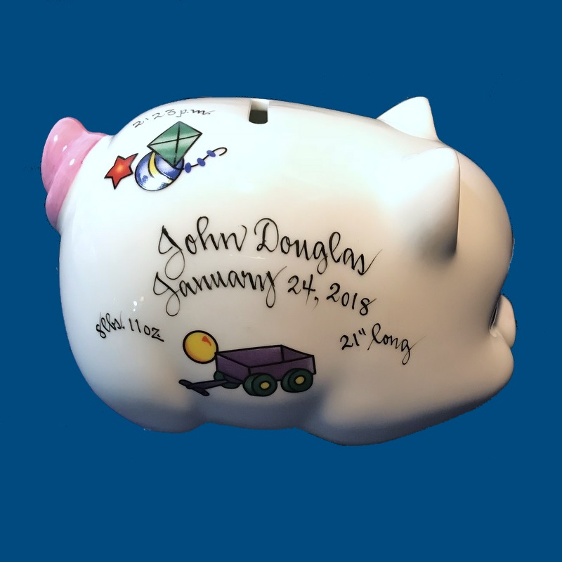 Personalized Hand Painted  Piggy Bank with Boy Toy Design-gift idea, personalized gifts, unique baby gifts, piggy bank, porcelain piggy bank, porcelain, hand painted piggy bank, piggy bank, coin bank, kids piggy banks, personalized piggy banks, baby piggy bank, ceramic piggy bank, personalized baby, baby keepsake, new baby gift