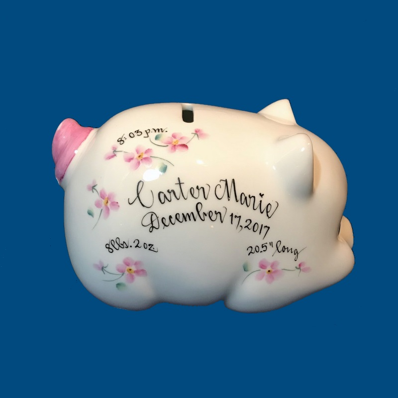 Personalized Hand Painted  Piggy  Bank with Pink Flowers-gift idea, personalized gifts, unique baby gifts, piggy bank, porcelain piggy bank, porcelain, hand painted piggy bank, piggy bank, coin bank, kids piggy banks, personalized piggy banks, baby piggy bank, ceramic piggy bank, personalized baby, baby keepsake, new baby gift