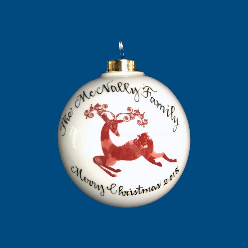 Personalized Hand Painted Porcelain Christmas Ball with Red Reindeer Design*-gift idea, personalized gifts, christmas, christmas gifts, christmas gift ideas, xmas ornaments, christmas ornaments, gifts for christmas, present ideas, ornament, christmas tree ornaments, personalized christmas ornaments, homemade christmas ornaments, first christmas ornaments, christmas ball ornament, engraved christmas ornament, christmas balls, christmas ball decorations