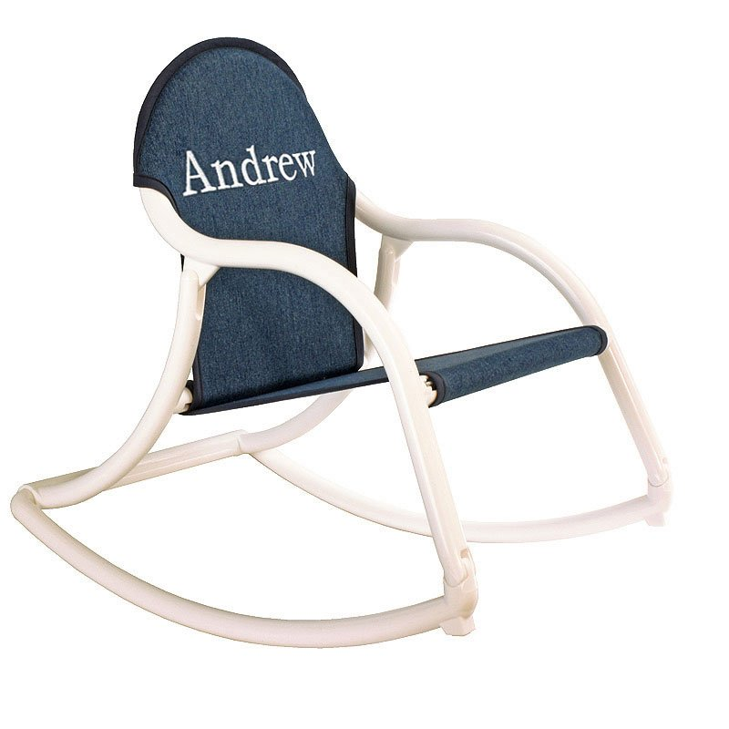 Embroidered Denim Canvas Rocking Chair-rocking chair, baby rocking chair, childrens rocking chair,outdoor rocking chair. the rocking chair, rocking chair rockers, personalized chairs, baby gift