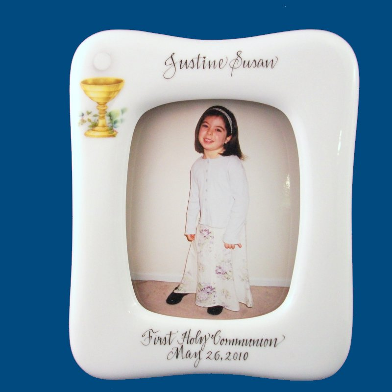 Personalized Hand Painted Porcelain Holy Communion Frame-gift idea, personalized gift, hand painted picture frame, frames, first holy communion,  first holy communion gifts, picture frames, picture frame, custom picture frames, personalized picture frames. porcelain