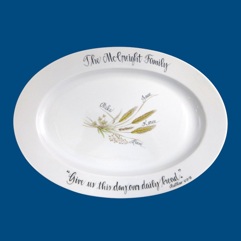 Personalized Hand Painted Religious Bread Platter Gifts Christmas Plate