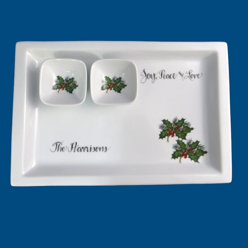 Personalized Hand Painted Rectangular Appetizer Plate with Dipping Bowls*-Christmas, Christmas gift, Holiday Tray, Hors d'oeuvre plate, Holiday Hostess Gift, Gift for the holidays, Christmas present, Christmas serving tray, Holiday tray, Christmas plate, Just for Christmas