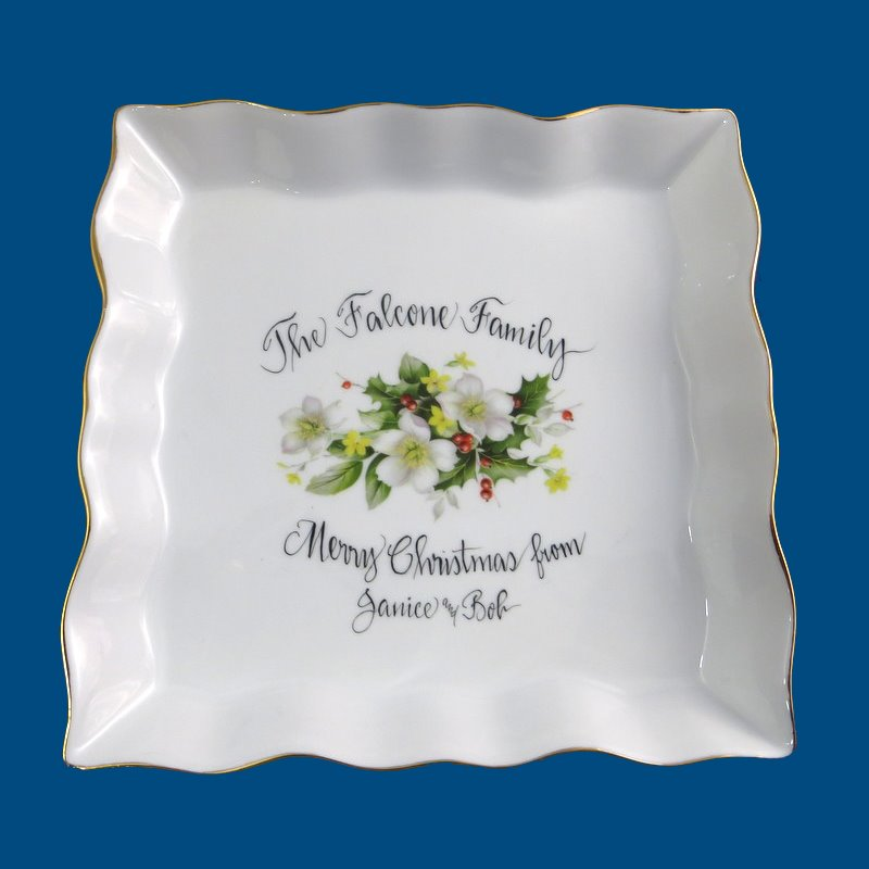 Personalized Hand Painted Square Scalloped Christmas Plate with 18k Gold Trim*-Christmas, Christmas gifts,Christmas plate, personalized gifts, porcelain, Christmas poinsettia, Holiday hostess gift, Just for the holidays, unique holiday gifts, Christmas serving dish, Christmas serving plate, Christmas appetizer plate, Christmas Dessert Plate