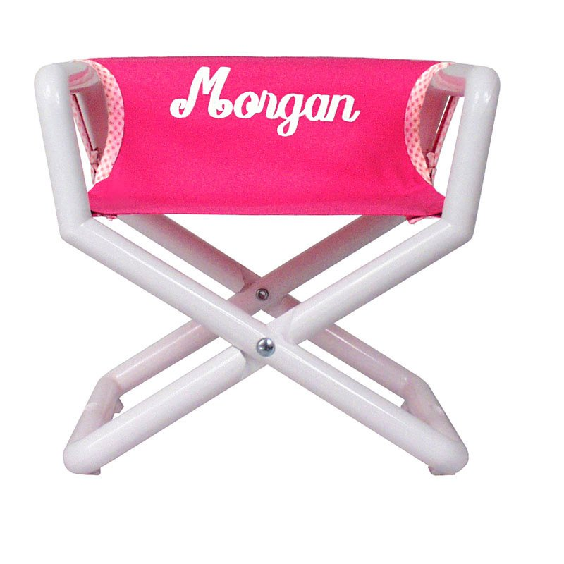 Embroidered  Pink Canvas Director Chair-high chair, folding chair, beach chair, kids chair, chair, directors, personalized gift, baby gift