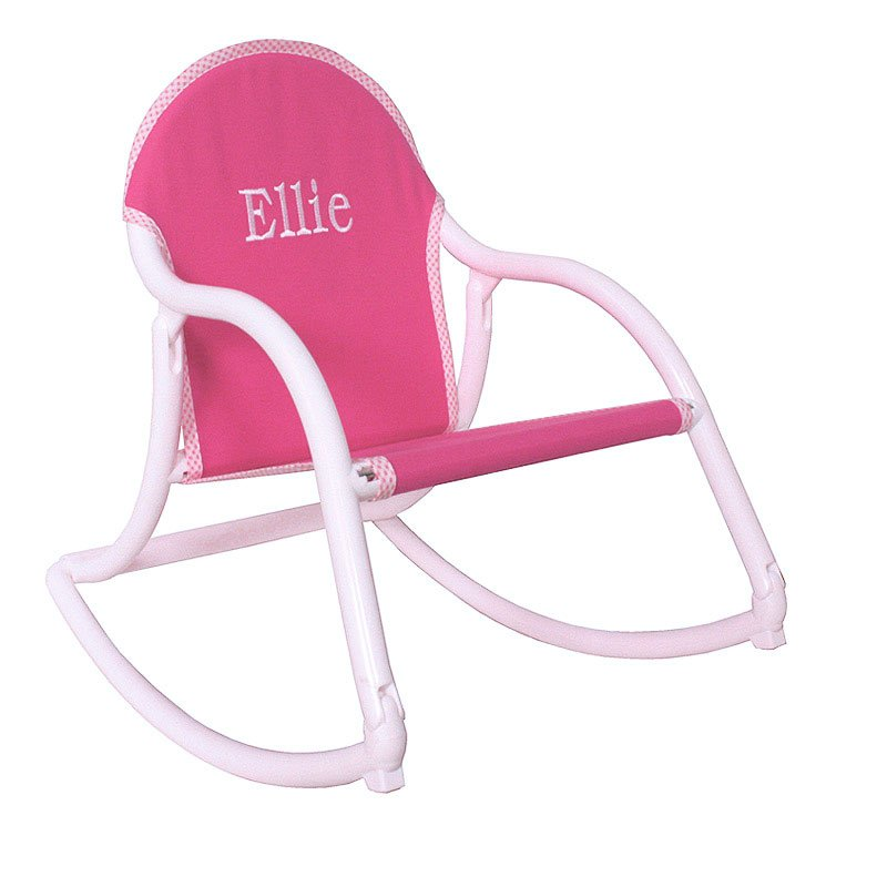 Embroidered  Pink Canvas Rocking Chair-rocking chair, baby rocking chair, childrens rocking chair, poutdoor rocking chair. the rocking chair, rocking chair rockers, personalized chairs, baby gift