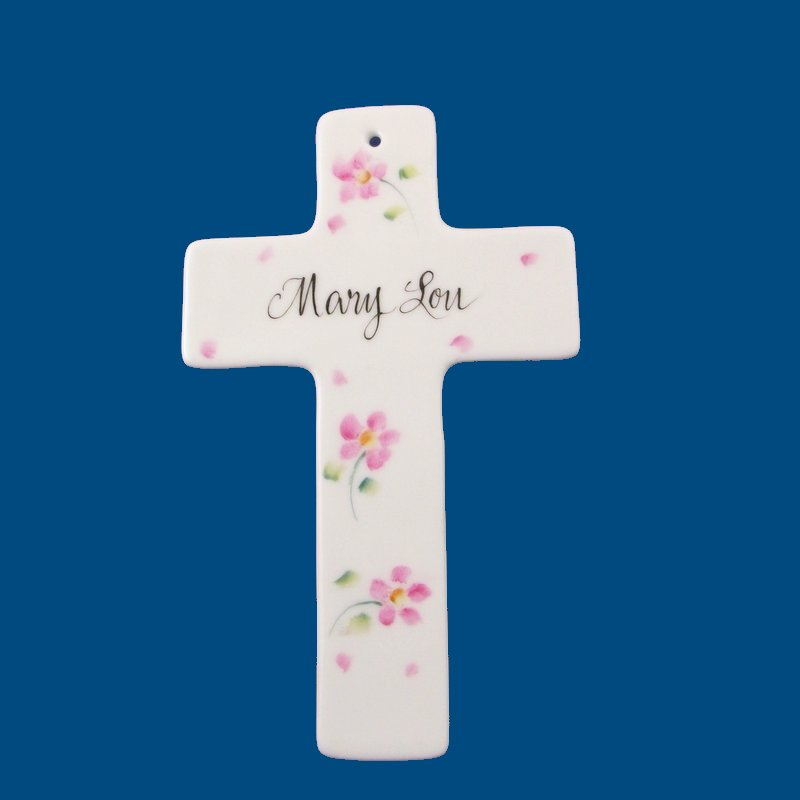 Personalized Hand Painted Porcelain Cross-gift idea, personalized gifts, porcelain, baby gifts, first holy communion gifts, first holy communion, christening gifts, holy communion, cross, cross box, cross gifts