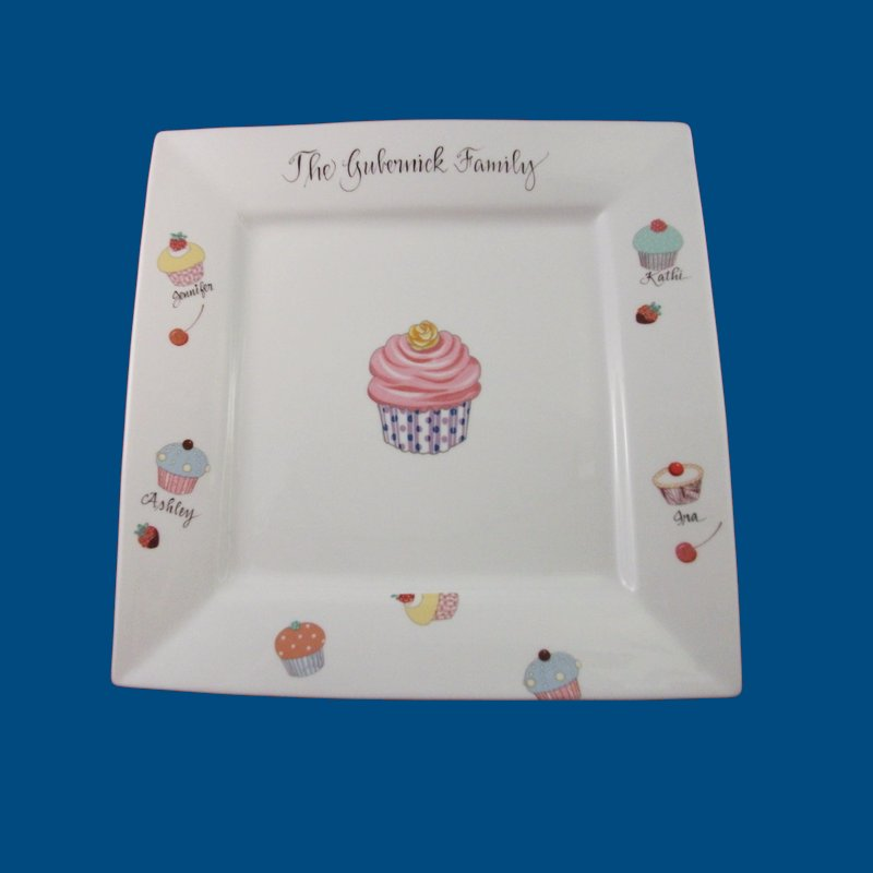 Personalized Hand Painted Square Porcelain Cupcake Plate-gift idea, personalized gift, personalized gifts, porcelain painted, cake plate, cake stands, square cake plate, cake, platters, platter, cupcake cake plate, cake platters wedding gift, bridal shower gift, christmas gift, porcelain, dessert plate, dessert plates