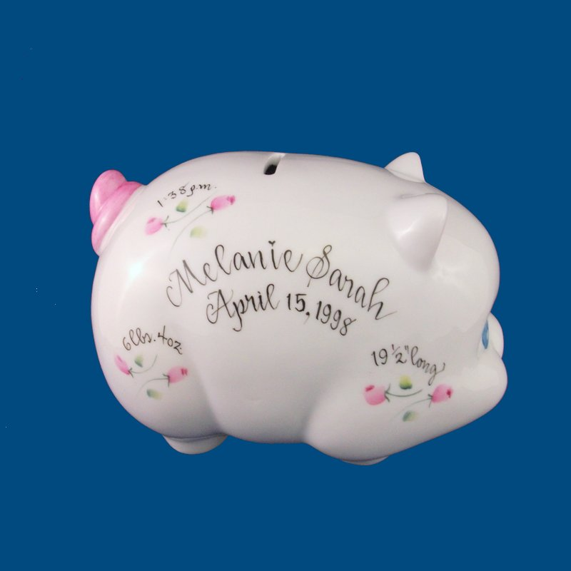 Piggy Bank with Rosebuds