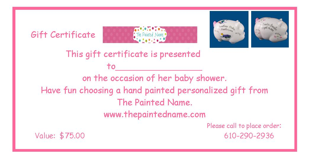 Gift Certificate-gift certificate, baby shower, baby shower gift, baby shower gift certificate, personalized gift, hand painted gift, unique gift