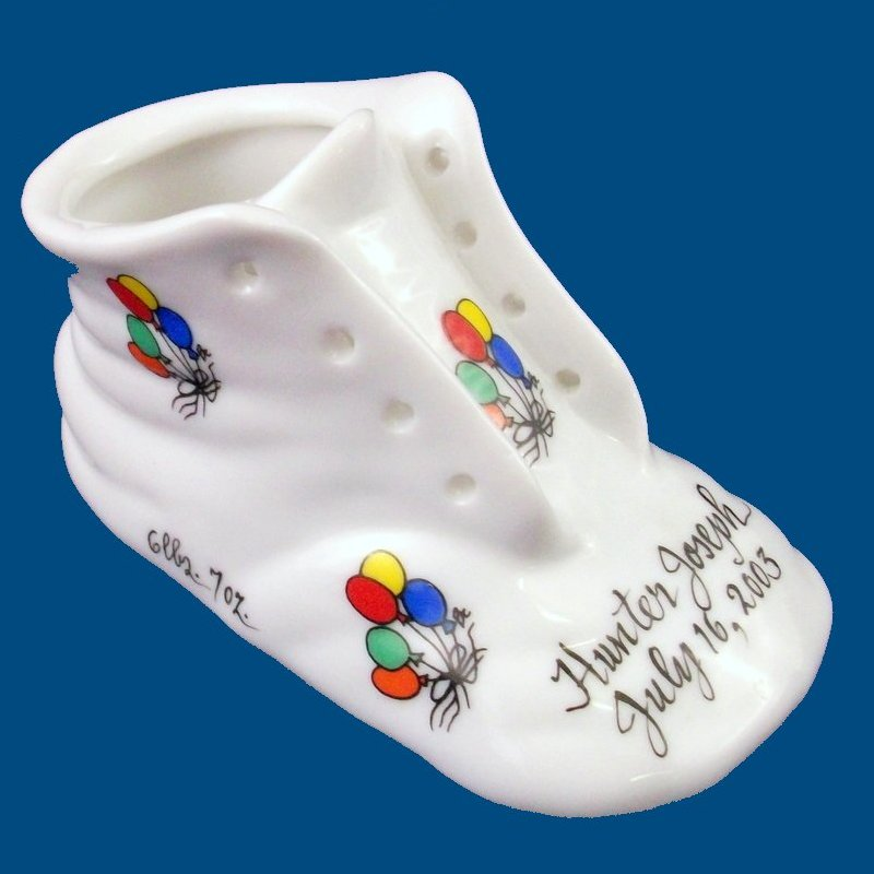 Personalized Hand Painted Porcelain  Baby Shoe**