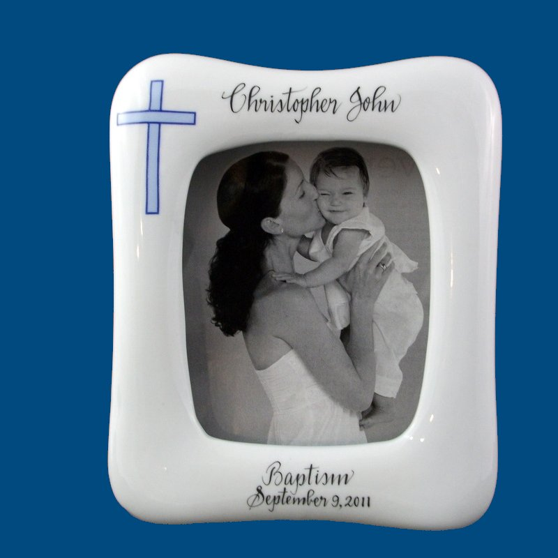 Personalized Hand Painted Porcelain Baby/Toddler Picture Frame-gift idea, personalized gifts, unique gifts, baby picture, picture frames, picture frame, painted frames, new baby gift, white porcelain, custom gift, custom picture frames, photo gift, personalized picture frames, baby picture frames, baby gifts, hand painted frames, baptism frame, baptism gift, religious gift, religious frame