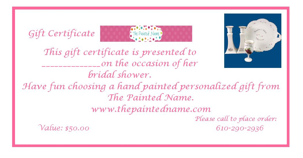 Gift Certificate-gift certificate, bridal shower, wedding gift, personalized gift, hand painted gift, house gift, bridal shower gifts