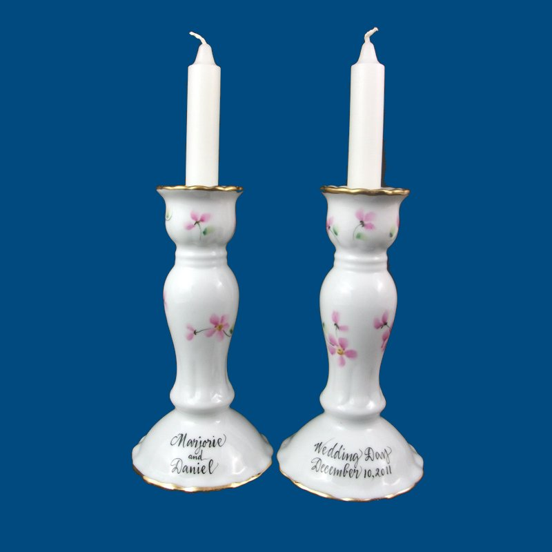 Personalized Hand Painted Porcelain Scalloped Candlesticks-personalized gift, wedding gift, bridal gift, candlesticks, candlestick, momnogram candlesticks, hand painted