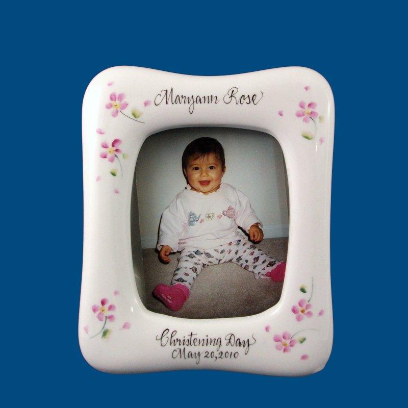 #Christening Frame Personalized Hand Painted Porcelain Christening Frame