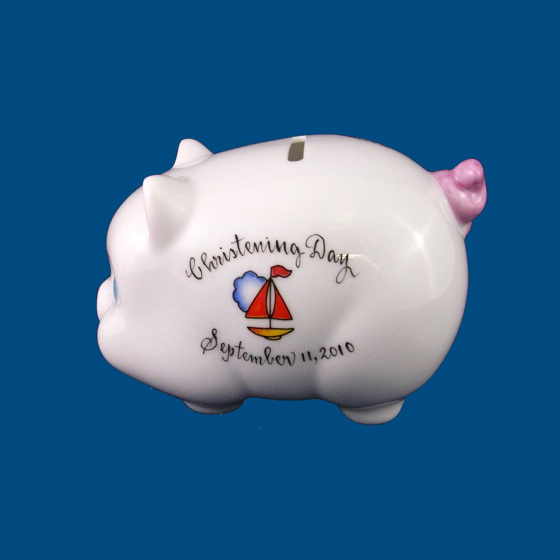 Personalized  Hand Painted Christening Porcelain Piggy Bank*-gift idea, personalized gifts, unique baby gifts, piggy bank, porcelain piggy bank, porcelain, hand painted piggy bank, piggy bank, coin bank, kids piggy banks, personalized piggy banks, baby piggy bank, ceramic piggy bank, personalized baby, baby keepsake, new baby gift, christening gift, christening gifts, christening. baptism, porcelain, hand painted