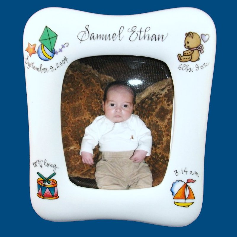 Personalized Hand Painted Porcelain Baby Picture Frame(12 designs to choose from)-gift idea, personalized gifts, unique gifts, baby picture, picture frames, picture frame, painted frames, new baby gift, white porcelain, custom gift, custom picture frames, photo gift, personalized picture frames, baby picture frames, baby gifts, hand painted frames