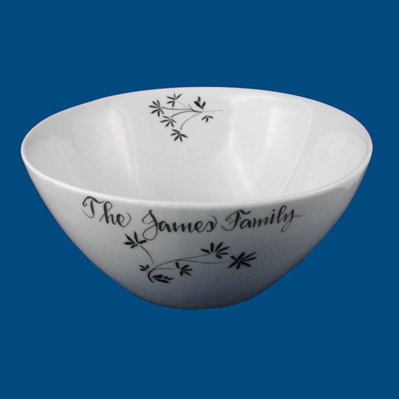 Personalized Hand Painted Porcelain Tilted Serving Bowl-bowls, personalized gift, personalized gifts, wedding gift, bridal gifts, porcelain bowls, pasta bowl, pasta bowls, salad bowl, bowls japanese, dishes and bowls, serving bowl, servng bowls, dinnerware