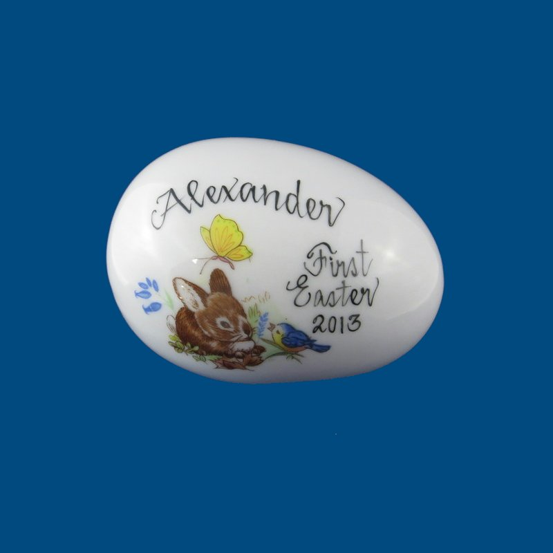 Personalized Hand Painted Porcelain Easter Egg - Bunny with Bluebird*-gift idea, personalized gifts, holiday gifts, easter egg, easter eggs, decorated easter egg, decorated easter eggs, easter basket, easter gift baskets, porcelain eggs, porcelain keepsake, porcelain painted, easter for kids, holiday gifts, personalized gifts, baby gifts, kids gifts, unique gifts