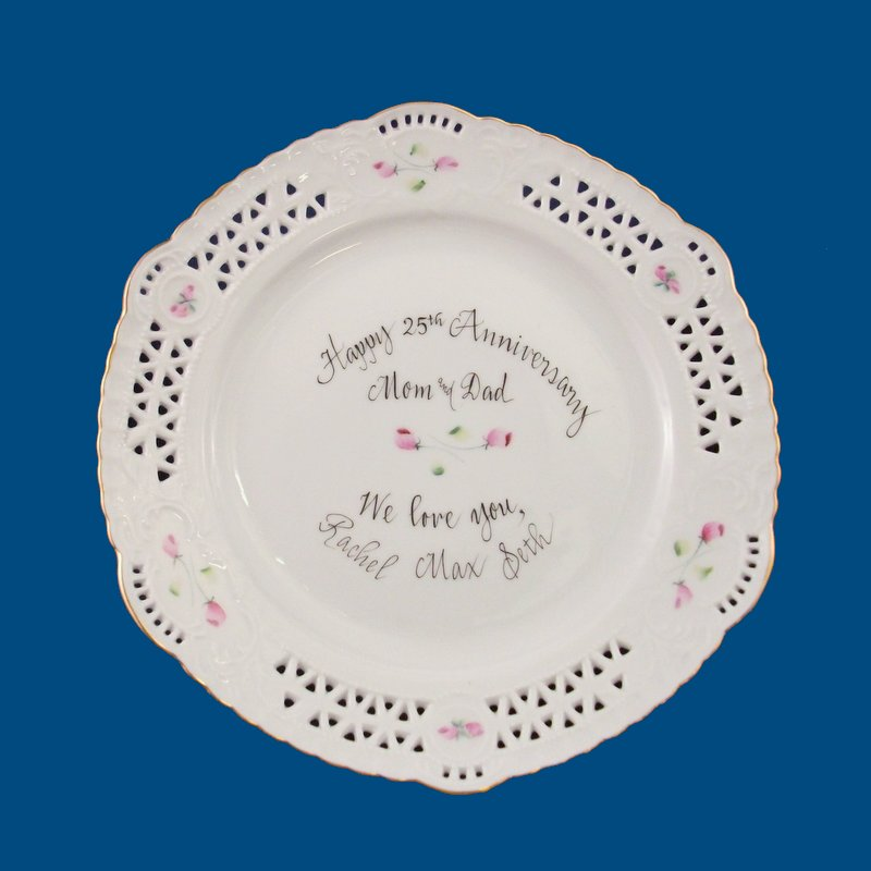 Personalized Hand Painted Porcelain Open Work Plate*-gift idea, personalized gift, personalized gifts, porcelain painted, dessert plate, decorative plate, porcelain, wedding gift, wedding, anniversary gifts, anniversary gift, bridal shower gift, christmas gifts, personalized plate, hostess gift, retirement gift, porcelain, decorative plates, decorative plate, monogrammed gifts