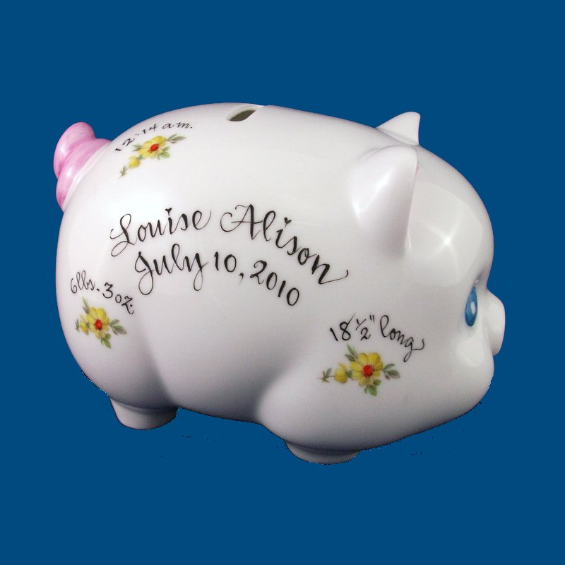 Piggy Bank with Yellow Daisies