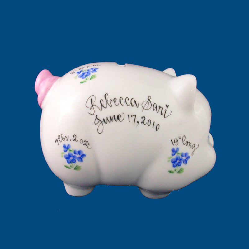 Piggy Bank with Blue Forget-me-nots
