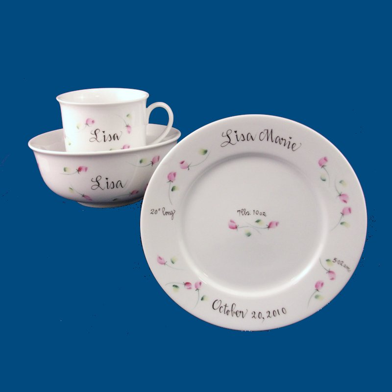 Dish Set with Rosebuds