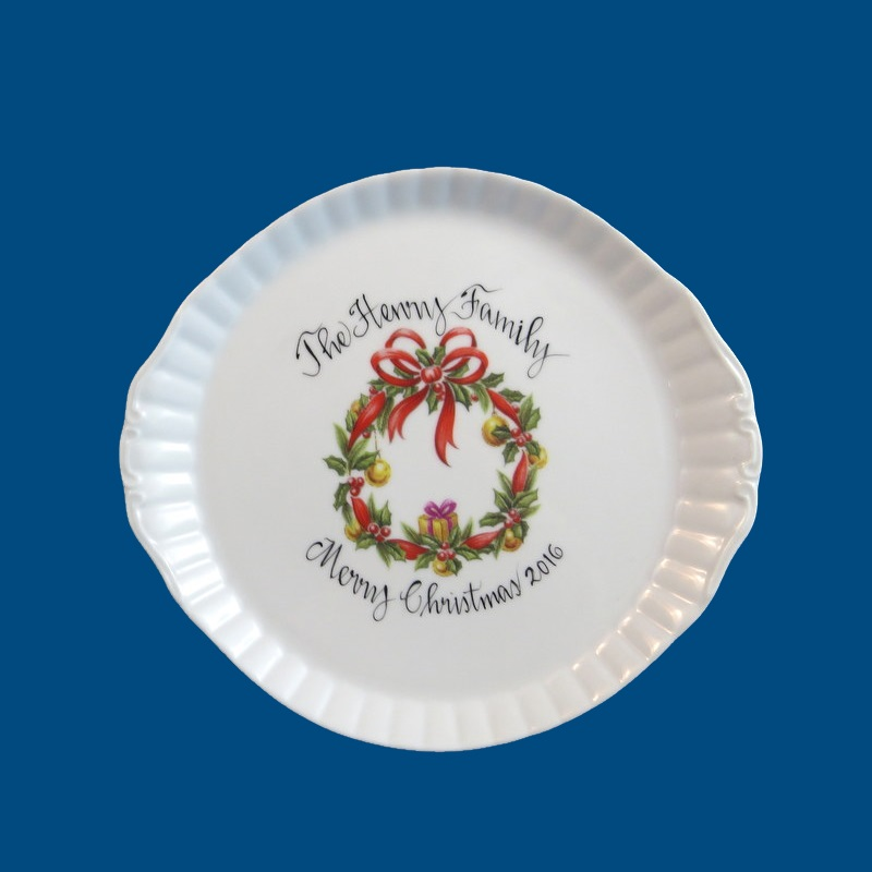 Personalized Hand Painted Porcelain Christmas Wreath Plate*-Christmas, Christmas gifts,Christmas plate, personalized gifts, porcelain, Christmas tree, personalized gift, holiday gift, Christmas, x-mas, plate, porcelain plate