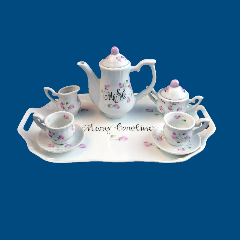 Personalized gifts gifts for her mini childs tea set personalized hand painted porcelain mini tea set w rosebuds gift idea personalized gift negle Image collections