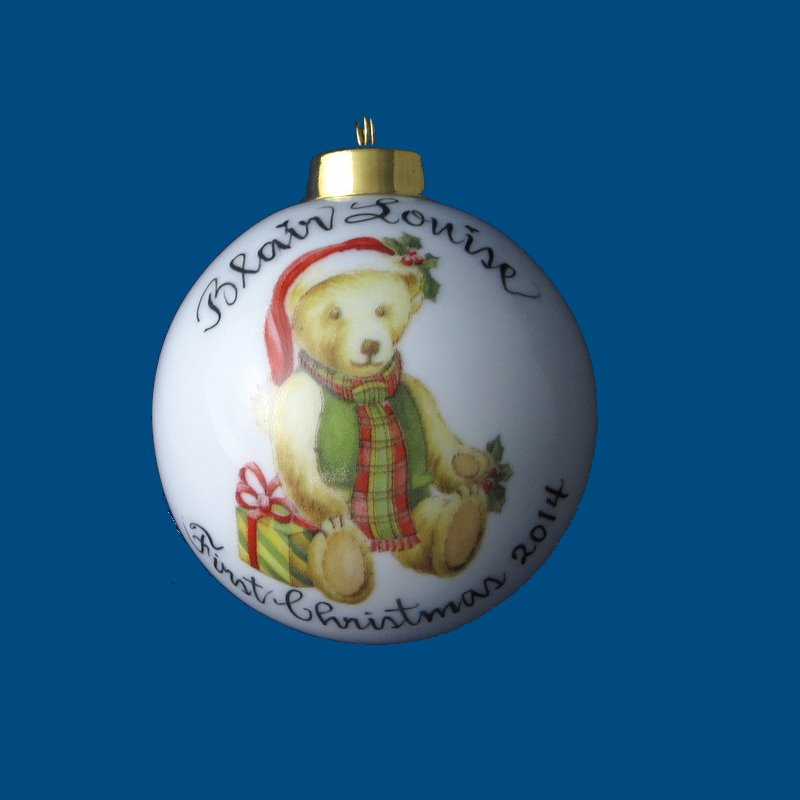 Hand Painted Personalized  Christmas Ball w/Baby Bear*-gift idea, personalized gifts, christmas, christmas gifts, christmas gift ideas, xmas ornaments, christmas ornaments, gifts for christmas, present ideas, ornament, christmas tree ornaments, personalized christmas ornaments, homemade christmas ornament, christmas balls, christmas ball decorations, ornaments, first christmas ornaments, christmas ball ornament, engraved decorations
