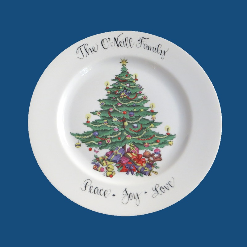 Personalized Hand Painted Porcelain Round Christmas Plate*-gift idea, personalized gifts, holiday gifts, platter, platters, christmas plate, porcelain, porcelain painted, christmas  gifts, christmas gift ideas, gifts for christmas, decorative plate, holiday gifts, serving plate, serving dish, platter, serving platter
