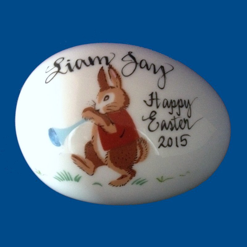 Personalized gifts easter gifts easter egg bunny w horn personalized hand painted porcelain easter egg bunny with horn gift idea personalized negle Image collections