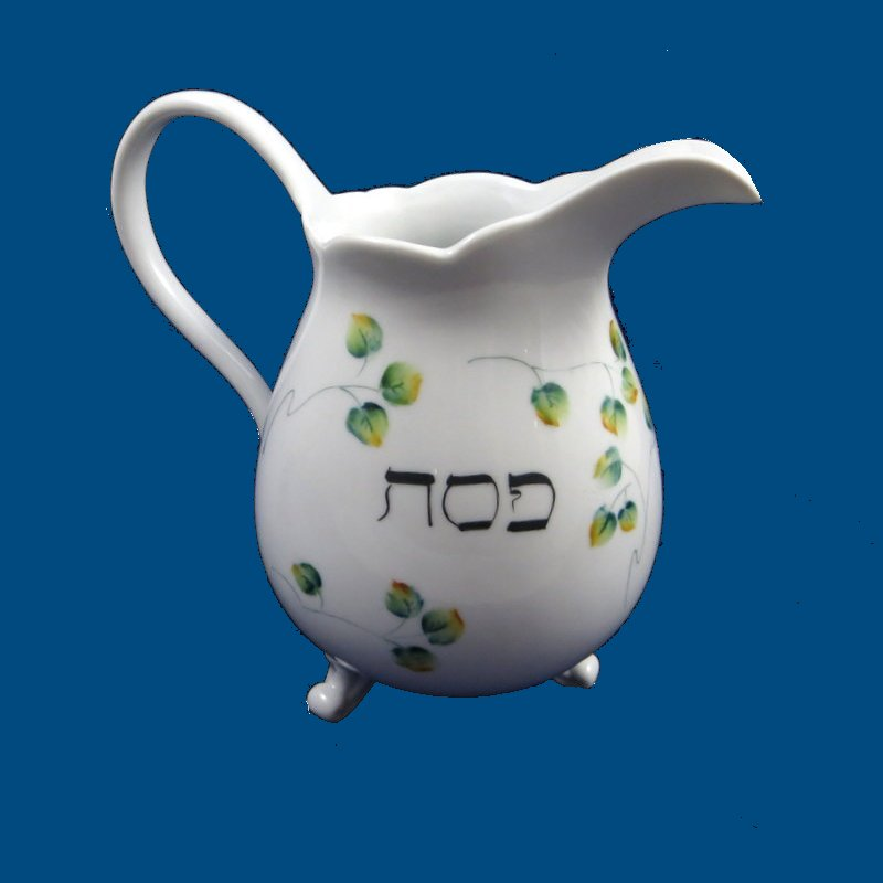 Personalized Hand Painted Porcelain Passover Cocktail Pitcher-cocktail pitcher, pitcher, hand painted pitcher, drinks, cocktails, personalized pitcher, bar acessories, wedding gifts, anniversary gift, bridal gift, birthday gift, cocktail party, dinnerware. porcelain
