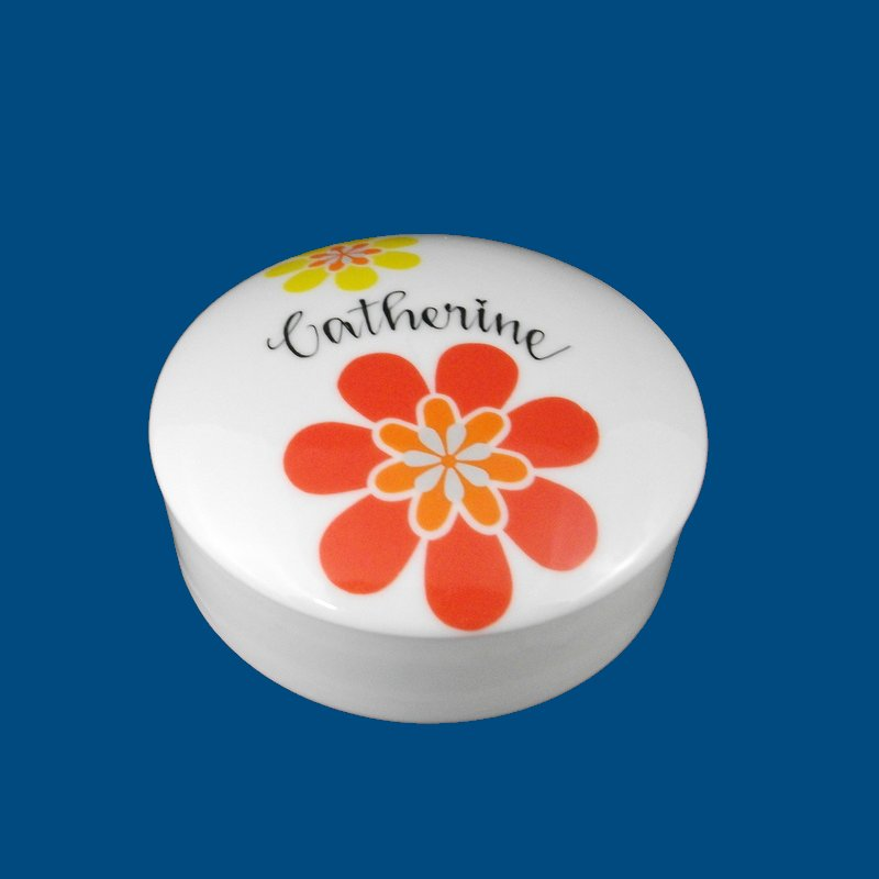 Personalized Hand Painted Porcelain Funky Round Box-gift idea, porcelain, personalized gift, birthday gift, trinket box, jewelry box, graduation gift, hand paint