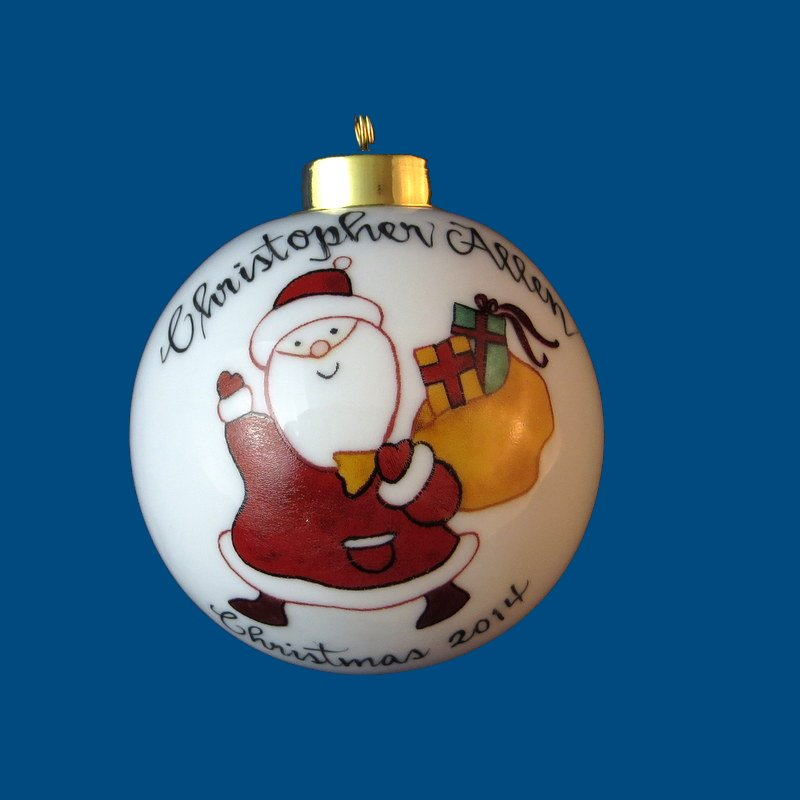 Personalized Hand Painted PorcelainChristmas Ball w/ Whimsical  Santa*-christmas ball ornament, engraved christmas ornament, christmas balls, christmas ball decorations