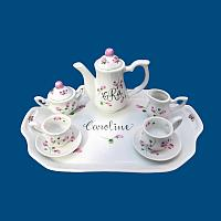 Personalized Hand Painted Porcelain Mini Tea Set w Rosebuds*