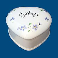Personalized Hand Painted Beaded Porcelain Heart Box with Floral Design*