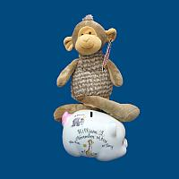 Personalized Hand Painted Piggy Bank with Stuffed Animal Combo*