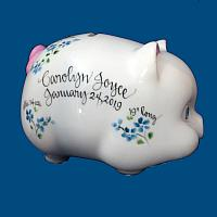 Personalized Hand Painted  Piggy Bank with Blue Flowers*