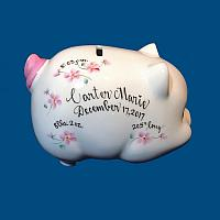 Personalized Hand Painted  Piggy  Bank with Pink Flowers*