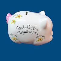 Personalized Hand Painted  Piggy Bank with Yellow Daisies*