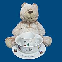Personalized Hand Painted Dish Set with Teddy Bear Combo*