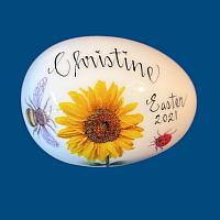 *New Design* Personalized Hand Painted Porcelain Easter Egg with Sunflower and Ladybug