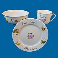 Personalized Hand Painted Porcelain Baby Dish Set with Farm Animals*