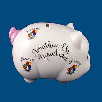 Personalized Hand Painted  Piggy Bank with Balloon Design*