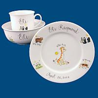 Personalized Hand Painted Porcelain Baby Dish Set with Zoo Animals*