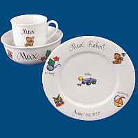 Personalized Hand Painted Porcelain Baby Dish Set with Boy Toy Design*